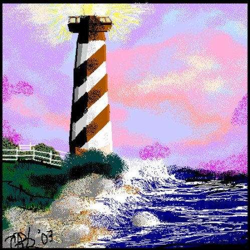 The Beach Lighthouse - Digital Art by CarolAnn Bailey-Lloyd